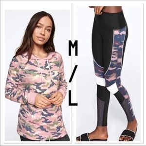 NWT VS PINK M/L pink and green camo SET